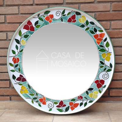 Espelho redondo com primaveras em mosaico