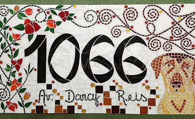Número em mosaico para residência (40x80 cm)