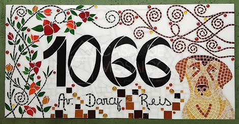 Número em mosaico para residência (40×80 cm)