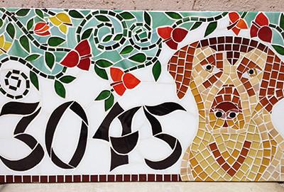 Número em mosaico para residência (25x45 cm)