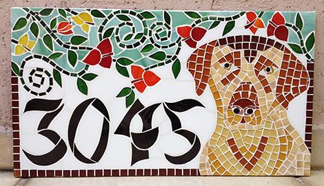 Número em mosaico para residência (25×45 cm)