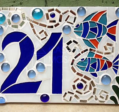 Número em mosaico para apartamento (15x20 cm)