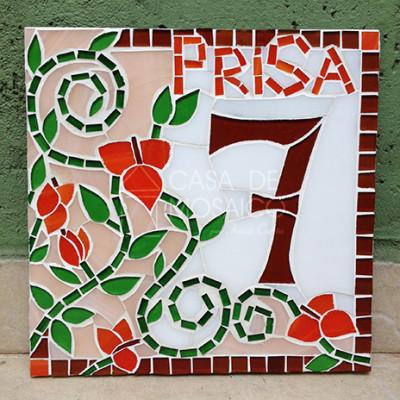 Número em mosaico para residência (20x20 cm)