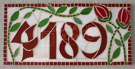 Número em mosaico para residência (40×20 cm)