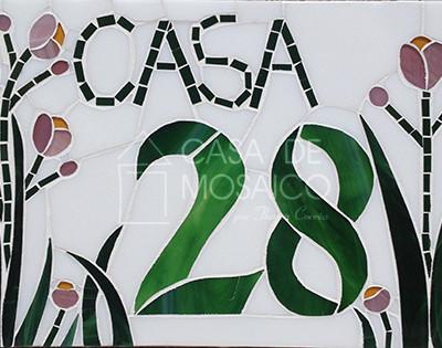 Número em mosaico para residência (30x20 cm)