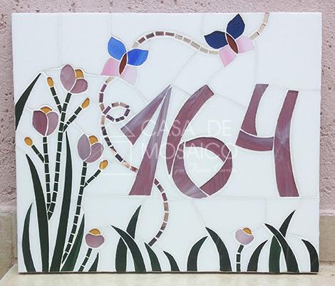 Número em mosaico para residência (30×35 cm)