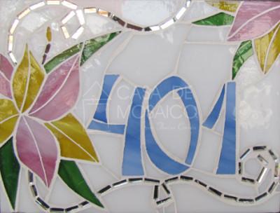 Número em mosaico para residência (20x15 cm)