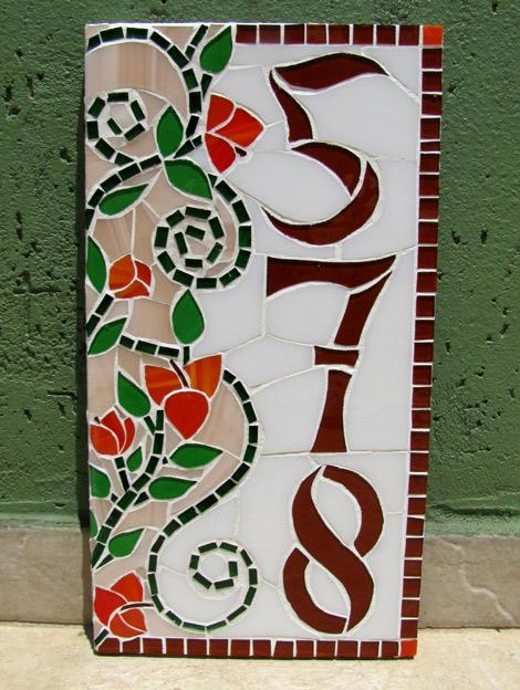 Número vertical em mosaico para residência (18x34cm)