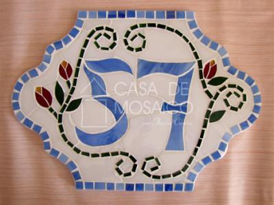 Número em mosaico para residência (31,5 X 22,5 cm)