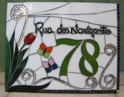 Número em mosaico para residência (35x45 cm)