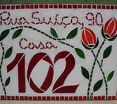 Número em mosaico para residência (25X33,5 cm)