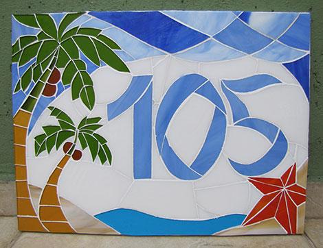 Número em mosaico para residência (30×40 cm)