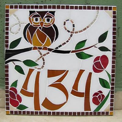 Número em mosaico para residência (30x30 cm)