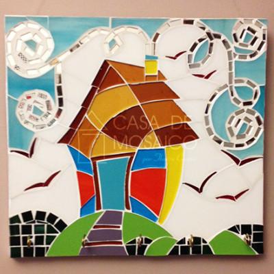 Porta-chaves de casa em mosaico