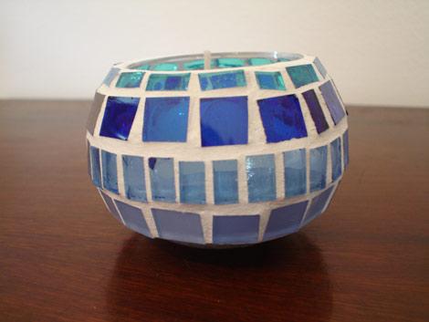 Porta-vela de mosaico