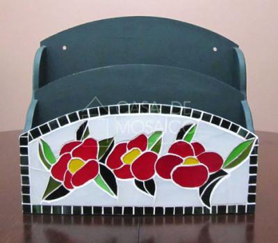 Porta-cartas organizador com flores de mosaico