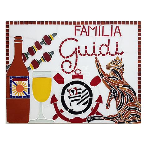Quadro em mosaico com nome de família