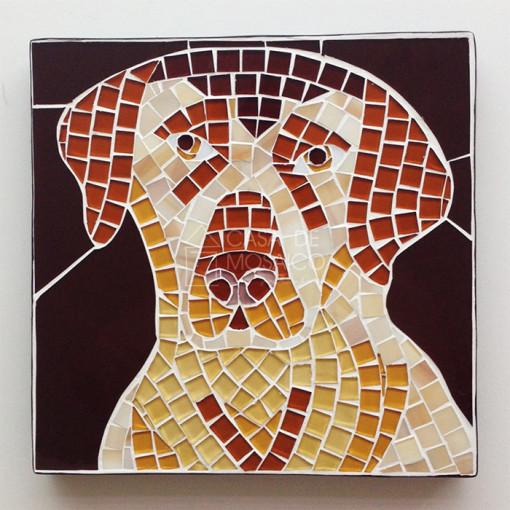 Quadro com cachorro labrador em mosaico