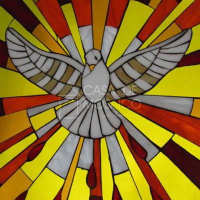 Quadro em mosaico vitral com Espírito Santo