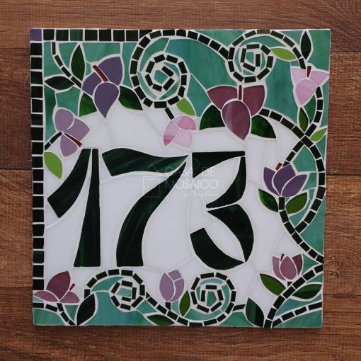 Número em mosaico para residência (25×25 cm)