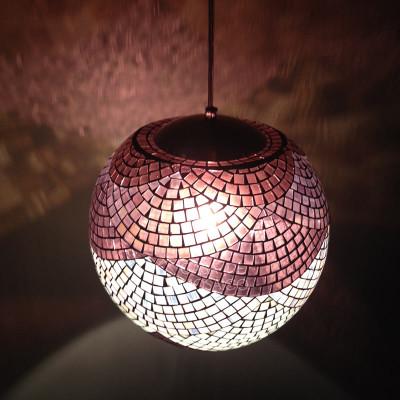 Luminária de mosaico Bambolê - tons de vinho