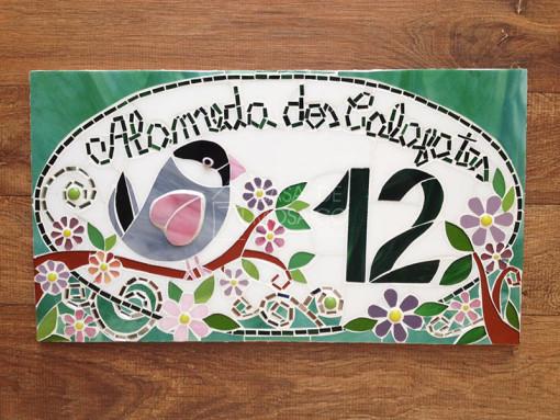 Número em mosaico para residência (45×25 cm)