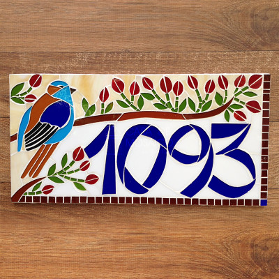 Número em mosaico para residência (40x20 cm)