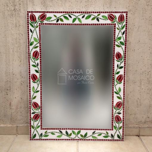 Espelho com tulipa em mosaico