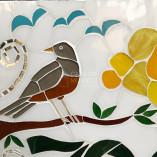 Número de mosaico com detalhe do Sabiá Laranjeira