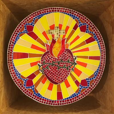 Porta de sacrário em mosaico de vidro - Sagrado Coração de Jesus