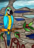 Placa de fazenda em mosaico com desenho de ipê amarelo e araras